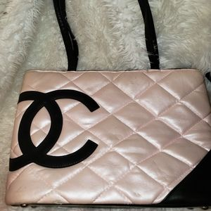 CHANEL PINK AND BLACK PURSE